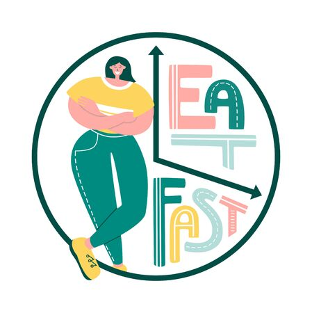 Eat, fast. Vector illustration on Intermittent fasting. Happy woman on time restricted eating plan. Clock face with hand lettering. Eating schedule for women. Modern flat illustration on diets. Illustration