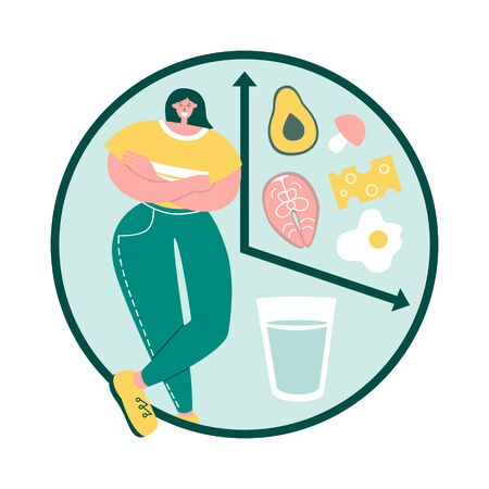 Intermittent fasting. Happy woman follows interval fasting protocol. Clock with glass of water and healthy Keto food. Time restricted eating concept. Modern flat character design.
