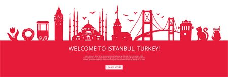 Welcome to Istanbul, Turkey! Red city silhouette and famous Turkish landmarks. City skyline with symbols of Istanbul. Travel to Turkey concept design. Horizontal banner design for a web page.