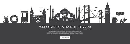 Welcome to Istanbul, Turkey! Black city silhouette and famous Turkish landmarks. City skyline with symbols of Istanbul. Travel to Turkey landing page design. Horizontal banner design for a website.