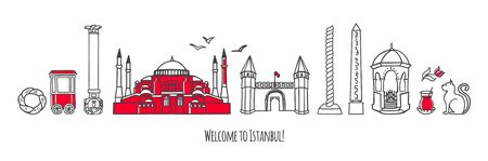Vector modern illustration Istanbul, Turkey. Famous Turkish symbols and landmarks. Travel to Turkey conception. Horizontal panoramic scene for banner or print design. Welcome to Istanbul card.