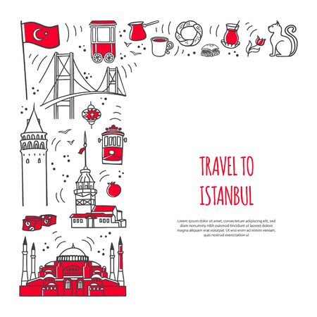 Travel to Ankara, Turkey. Vector card design with famous Turkish symbols and place for your text. Landmarks of Ankara in line doodle style on the banner template. Travel to Turkey concept.