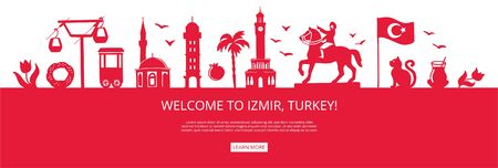 Welcome to Izmir, Turkey! Red city silhouette with famous Turkish landmarks. City skyline with landmarks of Ankara. Travel to Turkey concept design. Horizontal landing page design for a website.