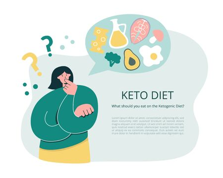 Woman thinking over Keto diet. Young girl thinking to start a Ketogenic diet. Oversized woman questioning what to eat. Low carb High fat eating protocol concept. Informational leaflet or flyer design.