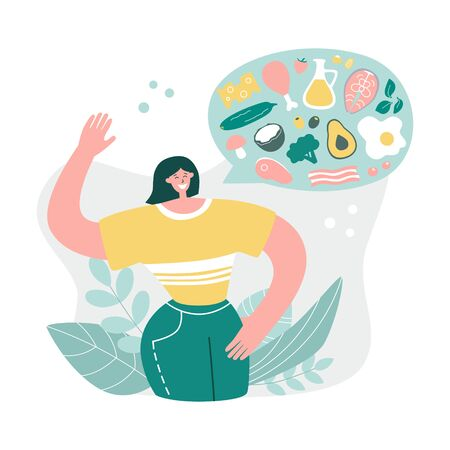 Happy woman talks about Keto diet. Girl explains what to eat on the Ketogenic diet. Young woman likes Low carb High fat eating protocol. Modern flat illustration on healthy eating.