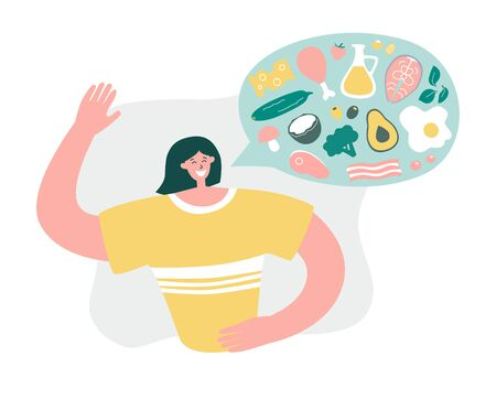 Smiling woman talks about Keto diet. Girl explains what to eat on the Ketogenic diet. Young woman promotes Low carb High fat eating protocol. Modern flat illustration on healthy eating. Illustration