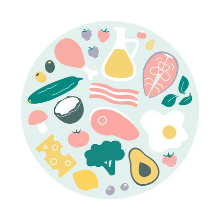 Keto food. Set of low carb high fat food in the circle composition. What to eat on the Ketogenic diet. Meat, fish, oil, vegetables for healthy eating. Collection of flat Keto items. Illustration