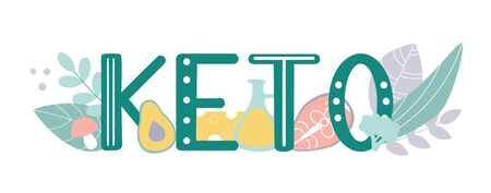 Keto. Vector illustration on a ketogenic diet. Hand lettering word with Ketogenic food around. Modern flat illustration on healthy eating. Keto diet concept design. Ilustracja