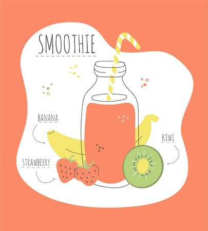 Delicious fruity smoothie. Card with a recipe of a tasty smoothie made of banana, strawberry, and kiwi. Modern flat illustration of healthy eating. Summer drink with its ingredients.