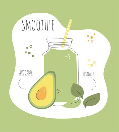 Green detox smoothie. Card with a recipe of a healthy smoothie made of avocado and spinach. Modern flat illustration of healthy eating. Summer drink with its ingredients. Illustration