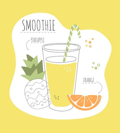 Delicious fruity smoothie. Card with a recipe of a tasty smoothie made of pineapple and orange. Modern flat illustration of healthy eating. Summer drink with its ingredients. Illustration