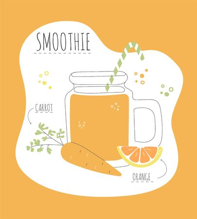 Delicious fruity smoothie. Card with a recipe of a tasty smoothie made of strawberry and orange. Modern flat illustration of healthy eating. Summer drink with its ingredients.