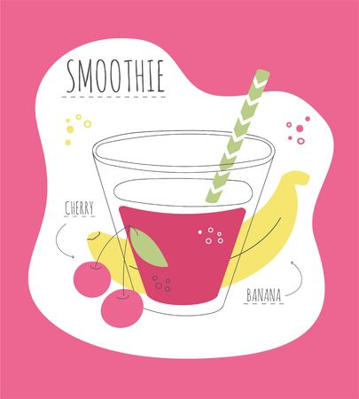 Delicious fruity smoothie. Card with a recipe of a sweet smoothie made of banana and cherry. Modern flat illustration of healthy eating. Summer drink with its ingredients.