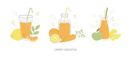 Carrot smoothie. Set of glasses with orange smoothie and juice. Doodle glasses with healthy drinks. Collection of summer drinks in modern line style. Colorful bottles, fruits, and vegetables.