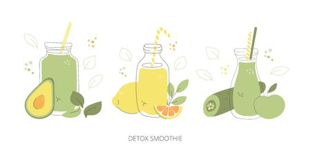Detox smoothie. Set of glasses with green smoothies. Hand drawn glasses with healthy drinks. Collection of summer drinks in doodle style. Colorful bottles, fruits, and vegetables.