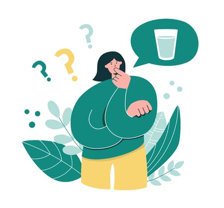 Woman thinks how much water she drinks. Young girl questioning Intermittent fasting. Oversized woman considers time restricted eating. Intermittent fasting concept. Modern flat cartoon character.