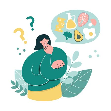Woman thinks over Keto diet. Young girl wants to start a Ketogenic diet. Oversized woman questioning what to eat. Low carb High fat eating protocol concept. Modern flat cartoon character. Illustration