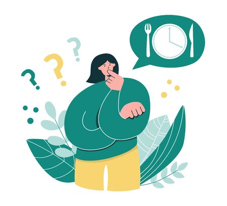 Woman considering Intermittent fasting. Young girl thinking to fast. Oversized woman questioning time restricted eating. Keto diet and Intermittent fasting concept. Modern flat character.
