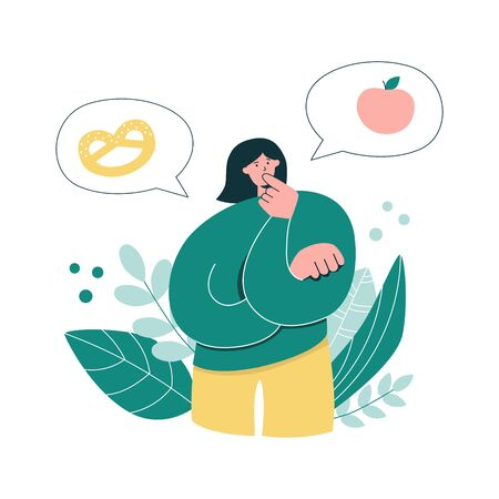 Woman thinking over Healthy Eating. Young girl choosing what to eat. Oversized woman considers eating baked product or an apple. Healthy diet concept. Modern flat character.