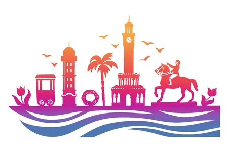 Landmarks of Izmir, Turkey. Illustration of famous Turkish symbols. Travel to Turkey concept. Izmir city silhouette in bright ombre color. Horizontal banner design with a panoramic city view.