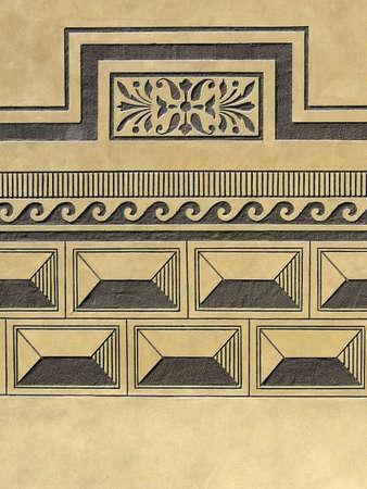 Pl�tre de la Renaissance, texture de mur avec un sgraffito abstrait