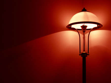 Bedroom lamp with red wall