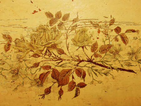 Grungy vintage roses, old damaged drawing, antique furniture