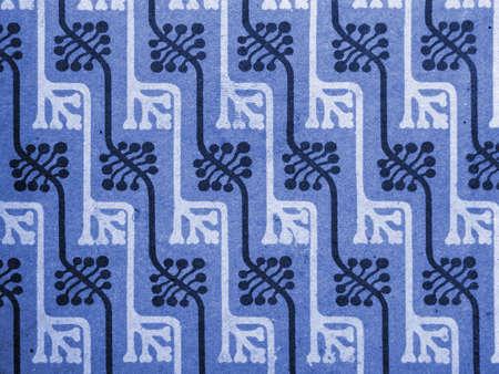 Vintage papier peint en bleu, le motif floral avec des bourgeons, l'art nouveau Banque d'images