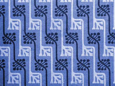 Vintage wallpaper in blue, pattern with floral buds, art nouveau                                 photo