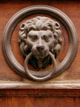 doorknocker:  Antique brass door knocker in Prague - Europe