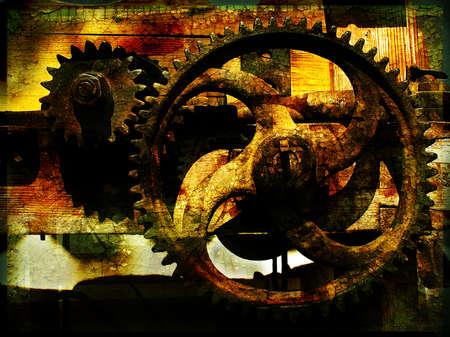 Grunge gears 1, grainy vintage background                               Stock Photo