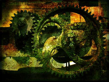 Grunge gears 2, grainy vintage background