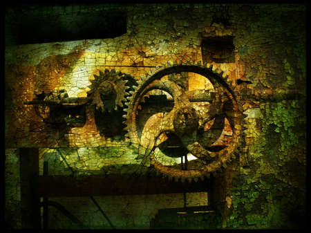Grunge gears 3, grainy vintage background