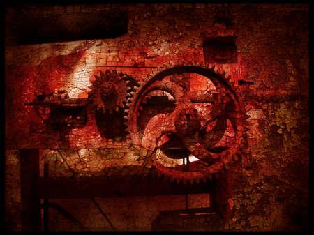Grunge gears 4, grainy vintage background