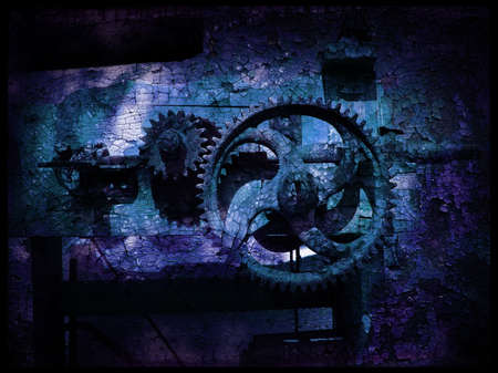 Grunge gears 5, abstract grainy vintage background                               Stock Photo