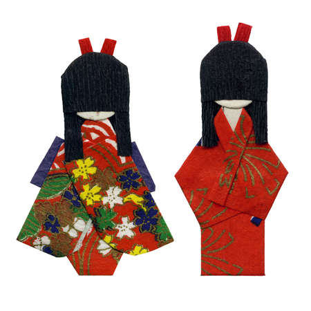 geisha kimono: Two origami geishas isolated on white Stock Photo