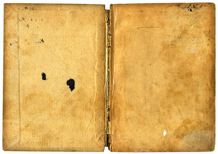 Open book isolated on white - vintage blank papers with grungy surface Stock Photo