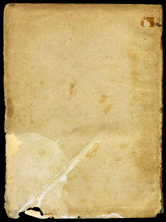 Vintage paper with grainy rough surface - isolated on black