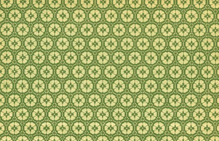 Used floral vintage wallpaper in green and yellow - natural grainy surface - XXL size Stock Photo