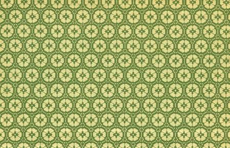 Utilis� floral vintage de papier-peint en vert et jaune - surface granuleuse naturelle - Taille XXL
