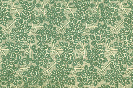 Used vintage wallpaper with leaves and branches in green - grainy surface Stock Photo