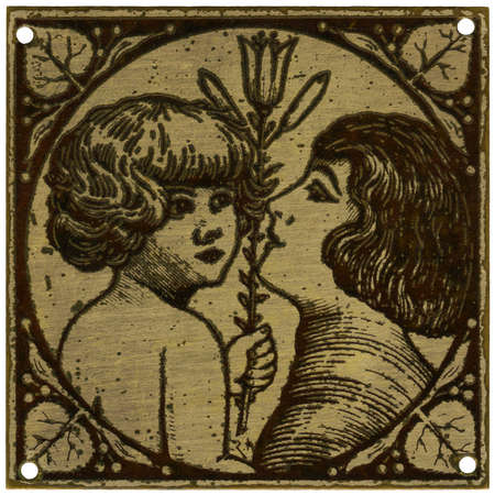 Mother and child with lily - vintage metal decoration - grainy surface