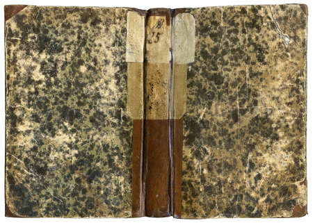 Old Open book - cover in leather and paper - circa 1871 - isolated on white with clipping path - XL size