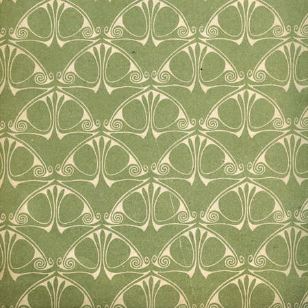art nouveau design: Used vintage wallpaper - art nouveau - grainy surface