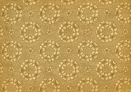 abstracto: Used floral vintage wallpaper - wreaths - in beige and gold - natural grainy surface Stock Photo