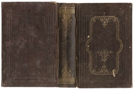 Old open book cover - circa 1880 - isolated on white - perfect in detail - XL size Stock Photo