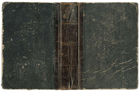 Old open book - cover with leather spine - circa 1875 - isolated on white Stock Photo