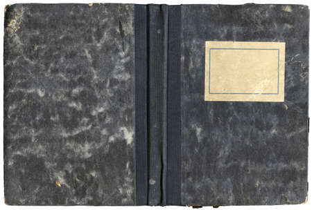 ヴィンテージ オープン日記またはノートブック カバー空のラベルおよび汚れた表面 - 白の分離