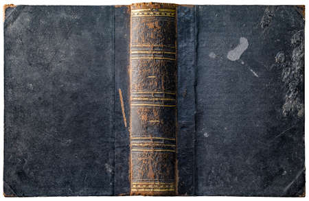Old open book cover with worn textured grungy paper boards and wax drips, cracked embossed brown leather spine and abstract golden geometric decorations - circa 1898 - isolated on white Stock fotó