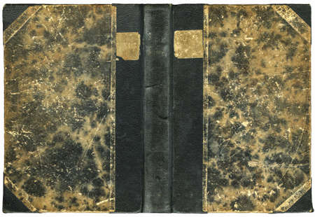Vintage open book cover with scratched grungy surface - isolated on white